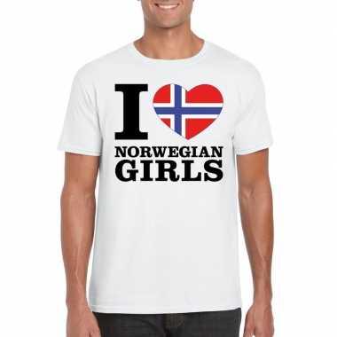I love norwegian girls vakantie t-shirt noorwegen heren