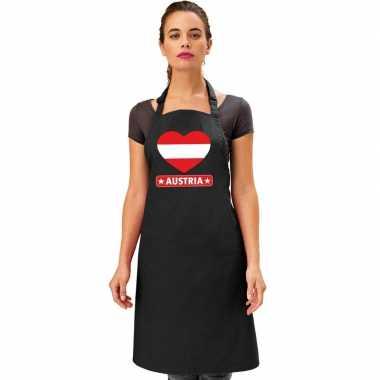 I love oostenrijk keukenschort/ barbecueschort zwart volwassenen