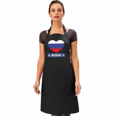I love rusland keukenschort/ barbecueschort zwart volwassenen