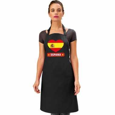 I love spanje tapas keukenschort/ barbecueschort zwart volwassenen