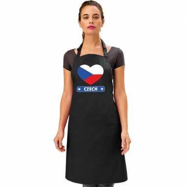 I love tsjechie keukenschort/ barbecueschort zwart volwassenen