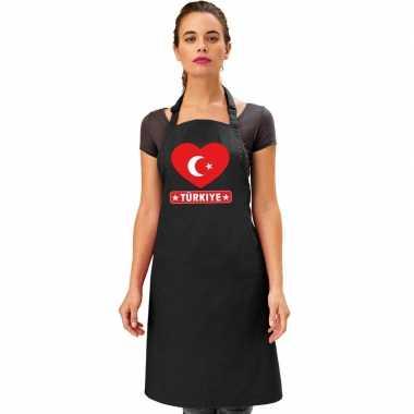 I love turkije keukenschort/ barbecueschort zwart volwassenen