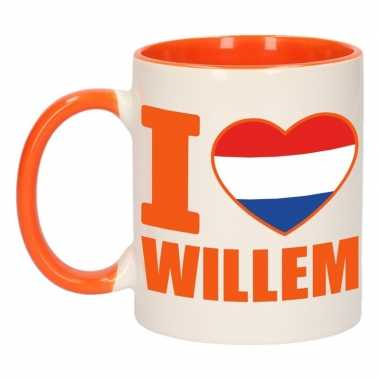 I love willem mok/ beker oranje wit 300 ml