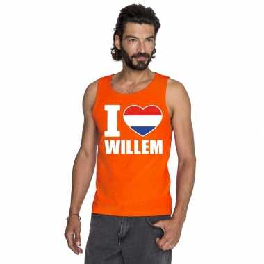 I love willem singlet oranje heren