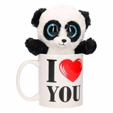 I love you cadeau beker met pandabeer