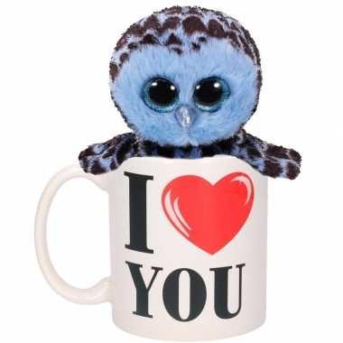 I love you cadeau mok met blauw uilen knuffel