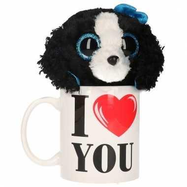 I love you cadeau mok met honden knuffel