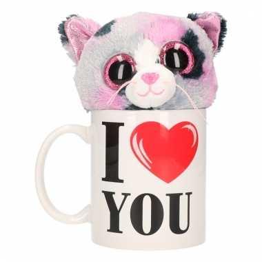 I love you cadeau mok met poezen/katten knuffel