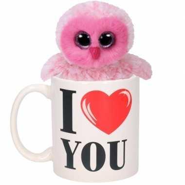 I love you cadeau mok met roze uilen knuffel
