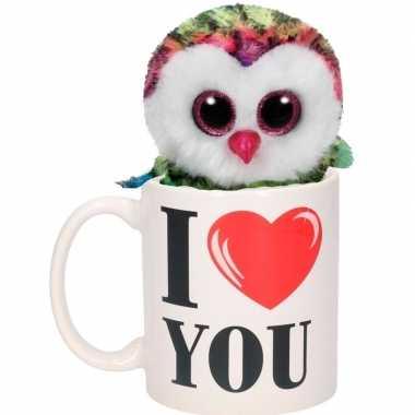 I love you cadeau mok met uilen knuffel gekleurd