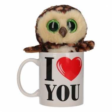 I love you cadeau mok met uilen knuffel