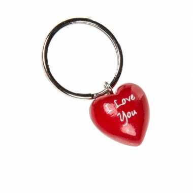 I love you sleutelhanger van hout 4 cm