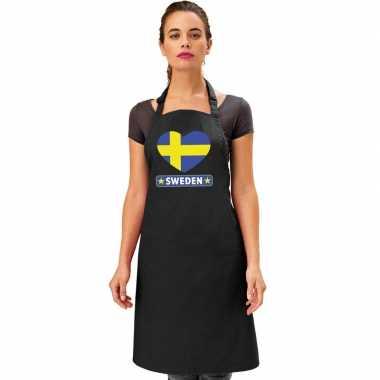 I love zweden keukenschort/ barbecueschort zwart volwassenen