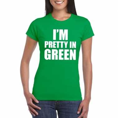 I'm pretty in green t-shirt groen dames