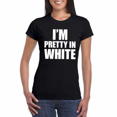 I'm pretty in white t-shirt zwart dames