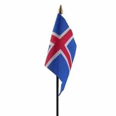 Ijsland luxe zwaaivlaggetje polyester