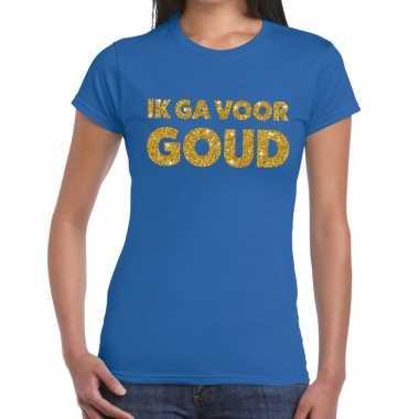 Ik ga voor goud glitter tekst t-shirt blauw dames