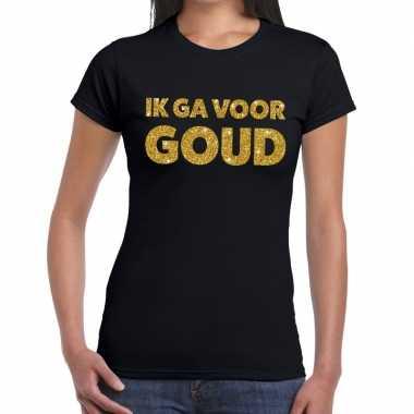 Ik ga voor goud glitter tekst t-shirt zwart dames