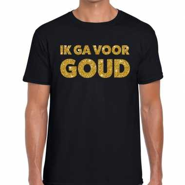 Ik ga voor goud glitter tekst t-shirt zwart heren