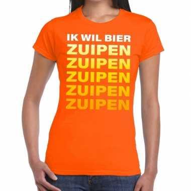 Ik wil bier zuipen tekst t-shirt oranje dames