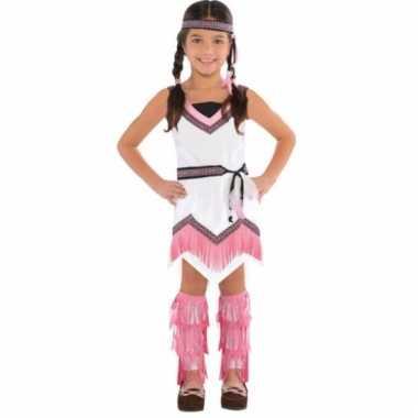 Indianen jurkje wit/roze voor meisjes