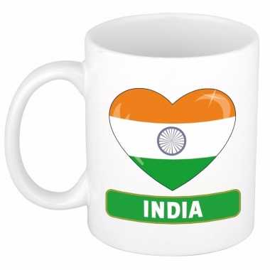 Indische vlag hart mok / beker 300 ml