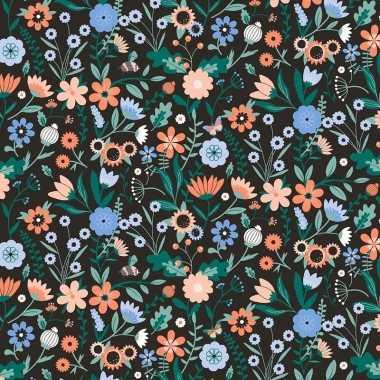 Inpakpapier/cadeaupapier bloemen 200 x 70 cm zwart/gekleurd