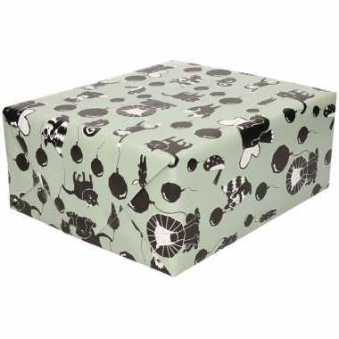 Inpakpapier/cadeaupapier happy animals 200 x 70 cm groen/zwart