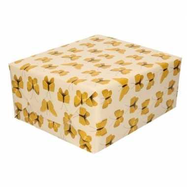 Inpakpapier/cadeaupapier vlinder 200 x 70 cm beige/geel