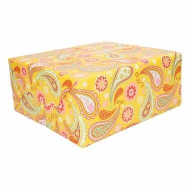 Inpakpapier geel met paisley
