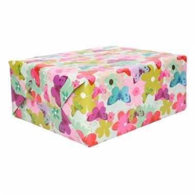 Inpakpapier gekleurde bloemen en vlinders