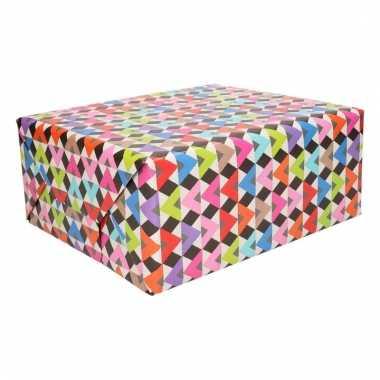Inpakpapier gekleurde dakjes print