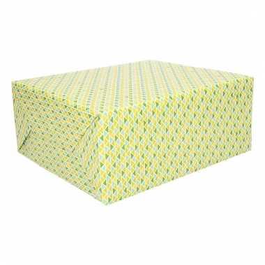 Inpakpapier gele en groene driehoeken