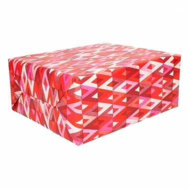 Inpakpapier geruit rood roze
