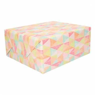 Inpakpapier pastel driehoeken