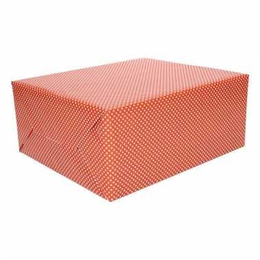 Inpakpapier rood met witte stippen