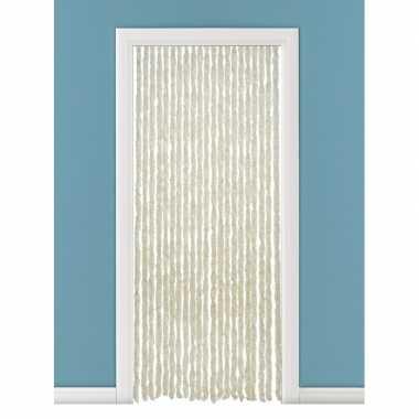 Insectenwerende pluche kattenstaarten deurgordijnen beige/wit 93 x 23