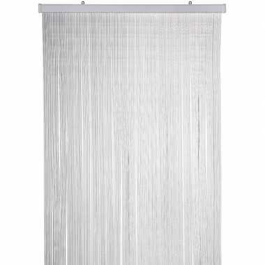 Insectenwerende pluche kattenstaarten deurgordijnen grijs/wit 90 x 22