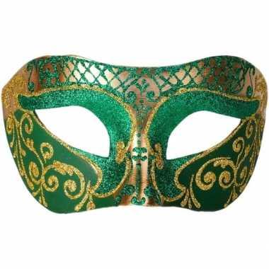 Italiaans oogmasker glitter groen/goud