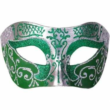 Italiaans oogmasker glitter groen/zilver