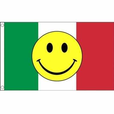 Italiaanse vlag met gele smiley 90 x 150 cm