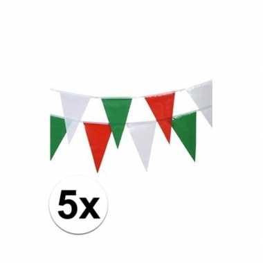 Italiaanse vlaggenlijnen 4 meter 5x stuks