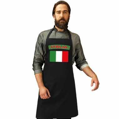 Italie vlag barbecueschort/ keukenschort zwart volwassenen