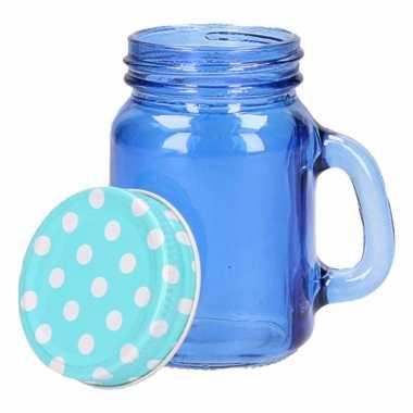 Jam bewaar potje blauw 120 ml