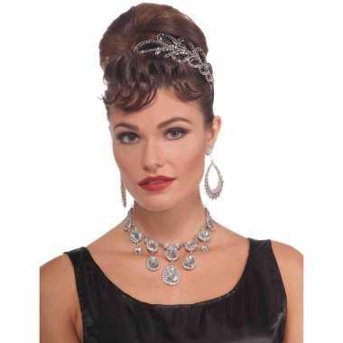 Jaren 20 ketting verkleedaccessoire met diamantjes voor dames
