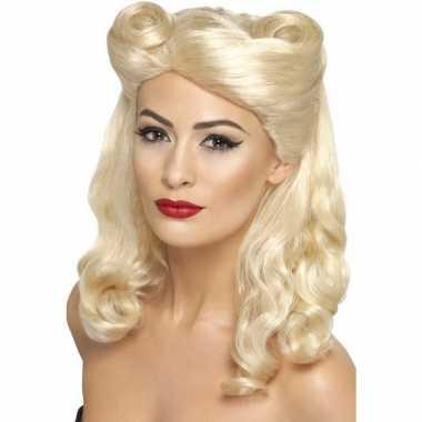 Jaren 40 pruik blond voor dames