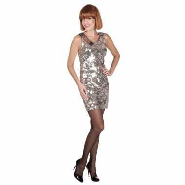 1ea614cfa1351f Jaren 60 jurkje zilver met pailletten