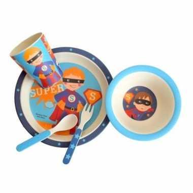 Jongens ontbijtset super kind blauw