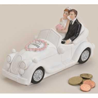 Just married geld spaarpot wit 16 cm