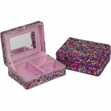 Juwelenkistje/juwelenbox fuchsia met deksel 8 x 11 cm
